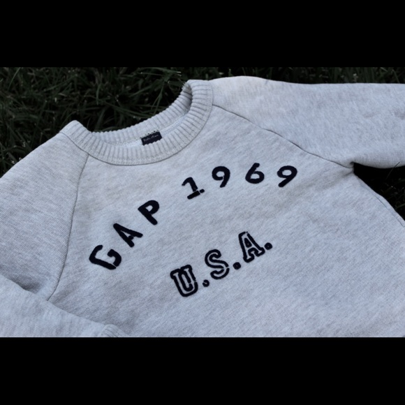 GAP Other - Baby Gap Oatmeal Sweatshirt with Navy Lettering
